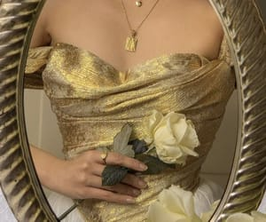 flowers, rose, and gold image
