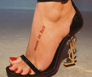 heels, nails, and tattoo image