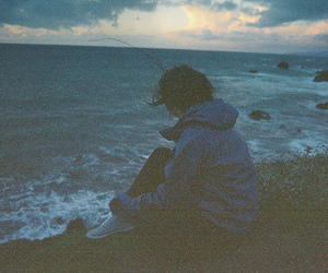 sea, vintage, and alone image