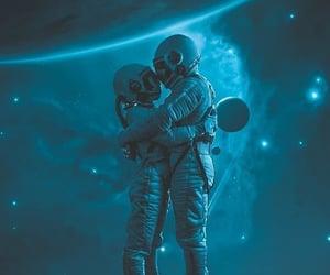 art, astronaut, and hug image