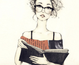 girl, book, and drawing image