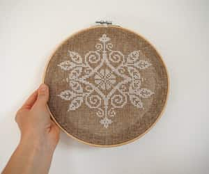 etsy, white cotton, and embroidery hoop art image