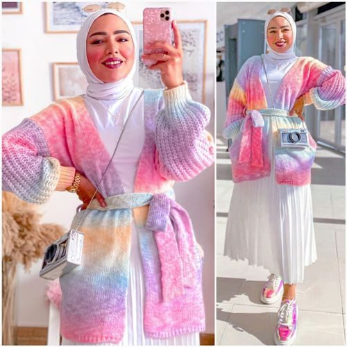 hijab, winter, and candy colors cardigan image