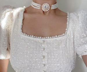 pearls, glam, and white image
