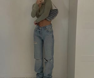 blue jeans, button up shirt, and green crop top image
