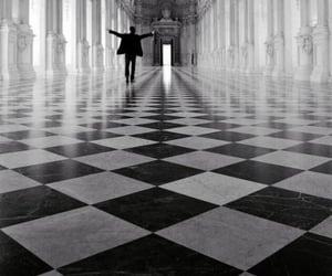 black and white, palace, and person image