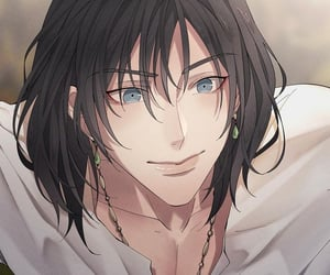 art, black hair, and lovely boy image