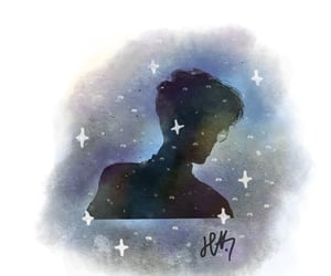 boy, galaxy, and sketch image