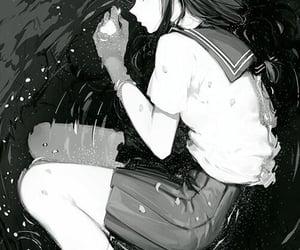 anime, dark, and long hair image