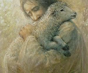 art, jesus, and sheep image