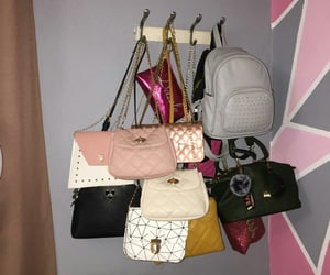 bags, bed, and girls image