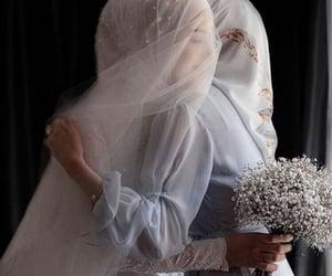 hijab, wedding, and muslim bride image