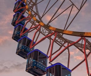 amusement park, ferris wheel, and fun image