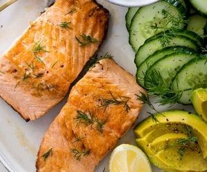 healthy, salad, and salmon image