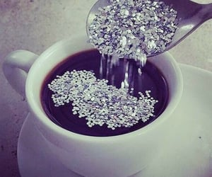 coffee, glitter, and black image