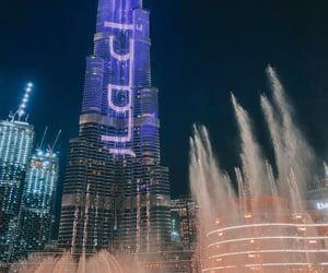 buildings, Dubai, and fountain image
