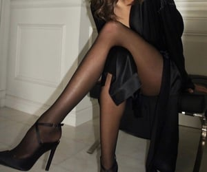 black dress, Couture, and heels image