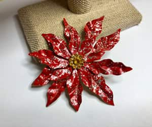 etsy, christmas flower, and poinsettia brooch image