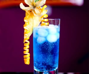 blue lagoon, cocktail, and drinks image