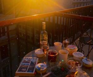 balcony, sunset, and beautiful image