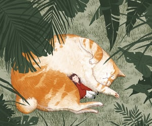 big cat, cat, and girl image