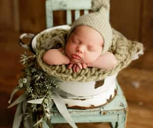 newborn photography, newborn photo posing, and newborn baby in bucket image