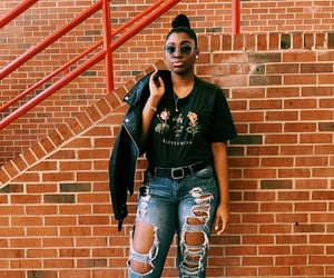leather jacket, ripped jeans, and blackgirl image