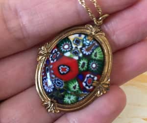 1960s, floral necklace, and vintage millefiori image