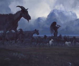 folklore, goat, and long hair image