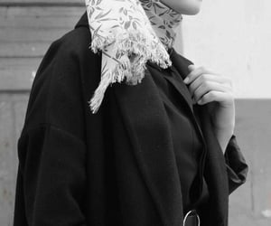 black & white, hijab, and hijâbi image