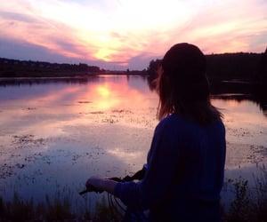 aesthetic, girl, and waterside image
