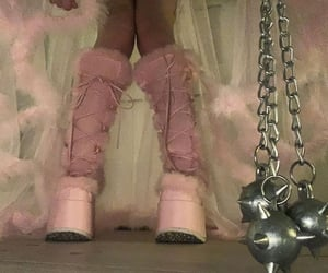 pink, shoes, and demonias image