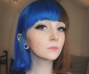 blue hair, gauges, and grunge image