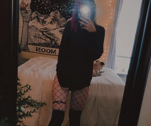 alt girl, fishnets, and thigh highs image