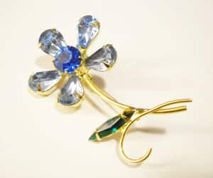 etsy, vintage brooch, and blue green gold image