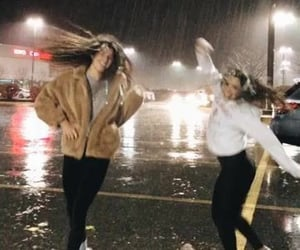 friends, rain, and girls image