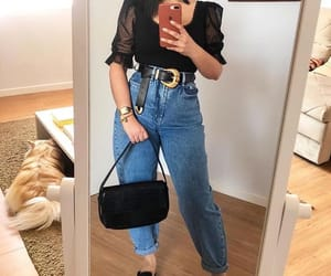 belt, blouse, and mom jeans image