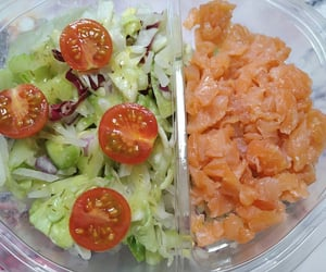 dressing, salad, and salmon image