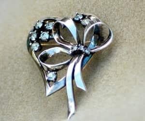 etsy, ribbon brooch, and silver rhinestone image