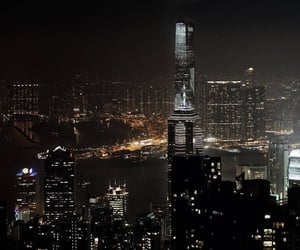 city, night, and skyscraper image