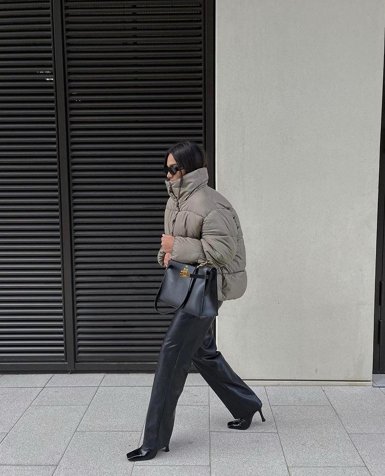 black heels, black pants, and street style image