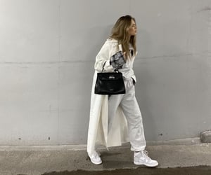 street style, white coat, and everyday look image