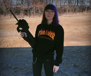 alt girl, aesthetic, and purple hair image