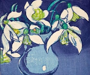 art, floral, and snowdrops image