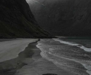black and white, beach, and black image