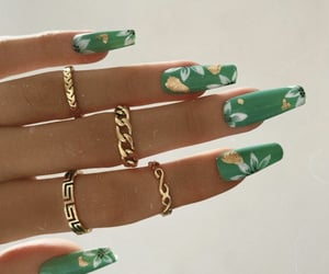 beauty, nail design, and gold image