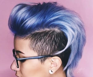 hair, Mohawk, and purple image