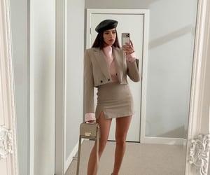 beret, mini skirt, and blogger image