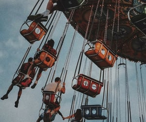 amusement park, swings, and ride image