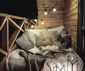 bed, lights, and sofa image